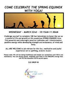 108 Sun Salutations Practice (Spring Equinox) @ Open Sky Yoga Barn    Redding   Connecticut   United States
