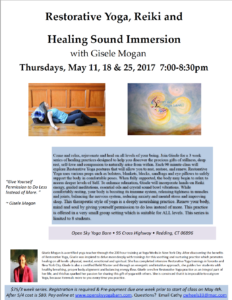 Restorative Yoga Reiki Healing Sound with Gisele @ Open Sky Yoga Barn  | Redding | Connecticut | United States