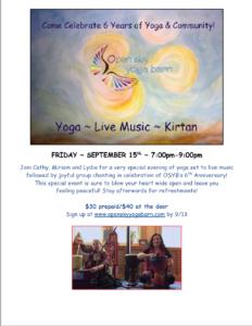 Anniversary Yoga + Chanting @ Open Sky Yoga Barn | Westport | Connecticut | United States