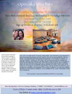 "Solstice Yoga Series ""Release & Restore"""